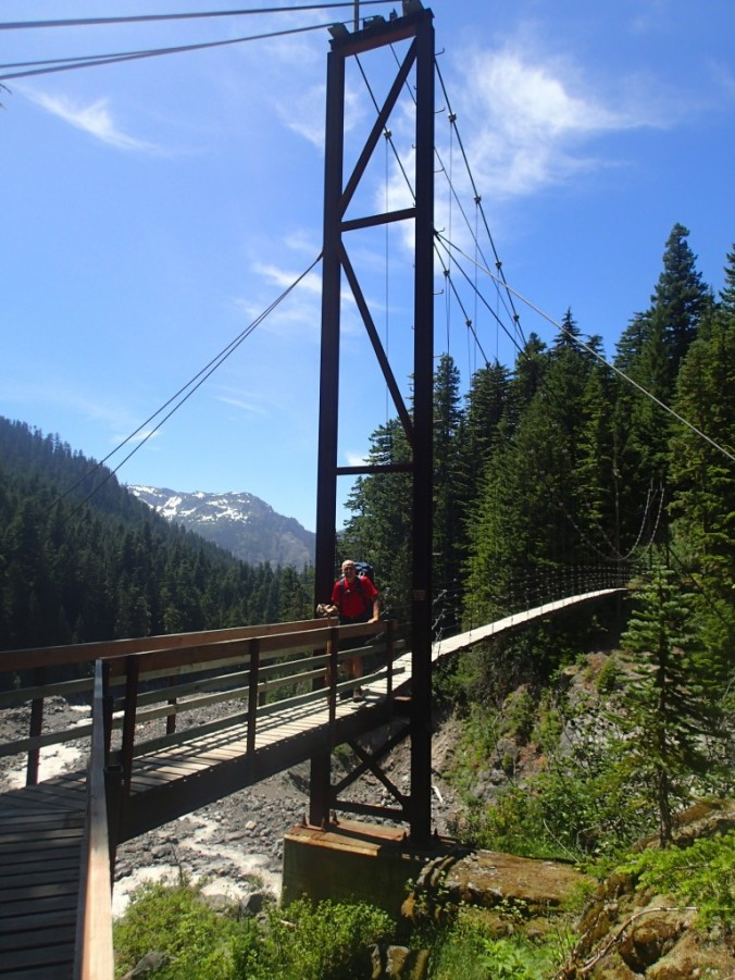 On The Tahoma Creek Suspension Bridge